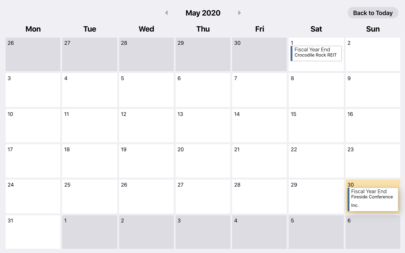 example compliance calendar with filters applied