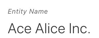 entity datebase showing entity name