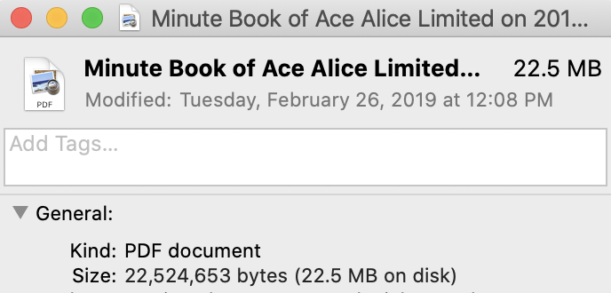 minute book file size info panel