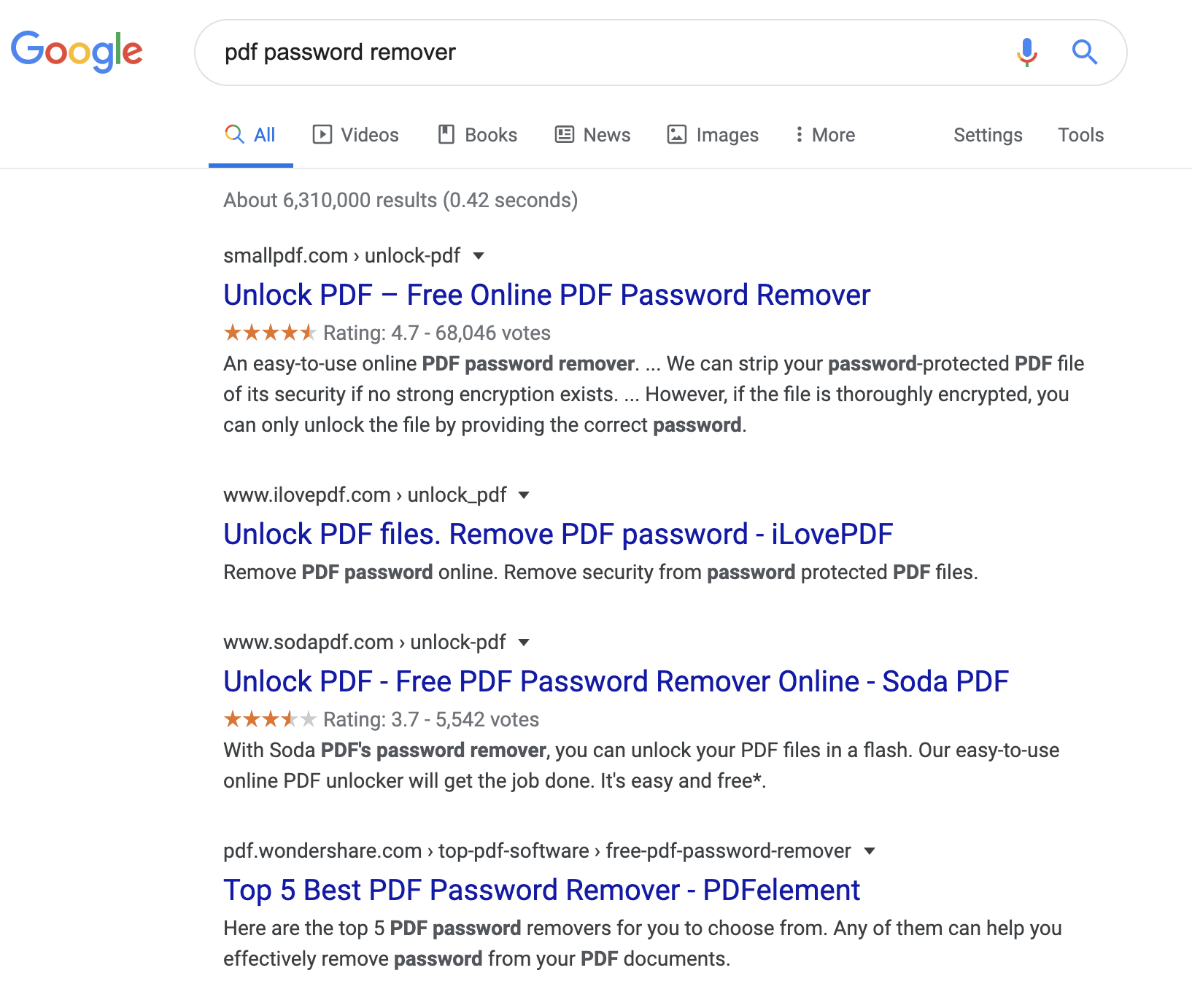 google search result showing pdf password remover results